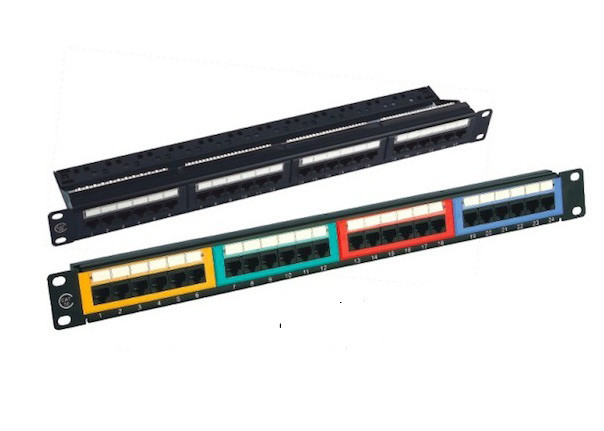 Krone 24 Port Patch Panel UTP , Black Color Unshielded Patch Panel IDC