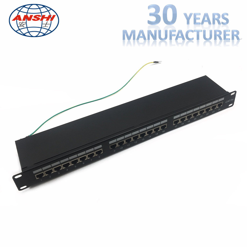 CAT6 STP Shielded Patch Panel 1U 19 Inch 24 Port IDC PCB Type For Networking