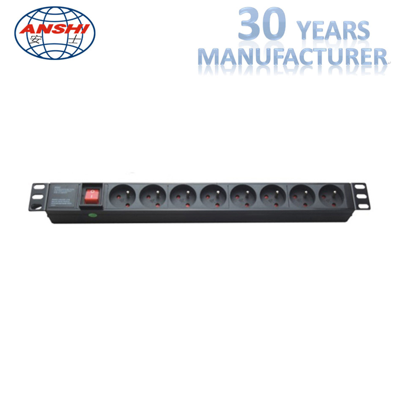 France Type Rack Mount Patch Panel PDU Sockets 8 Ways With Master Switch
